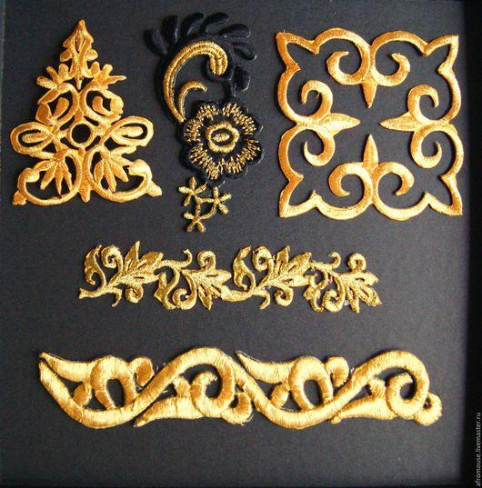 термоапликации `Золотые` блестящие ажурные