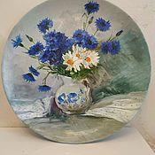 handmade. Livemaster - original item Plates decorative: Decorative plate, bouquet of wild flowers oil. Handmade.