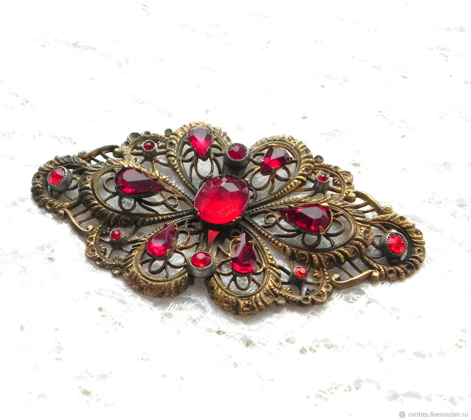 Brooch Rubies in lace, openwork brooch, ,20s-40s, Europe, gilding, Vintage brooches, Moscow,  Фото №1