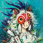 """Картины ручной работы. Ярмарка Мастеров - ручная работа Картина акрилом """"Принцесса Мононоке"""". Handmade."""