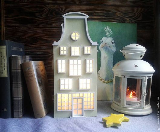 Освещение ручной работы. Ярмарка Мастеров - ручная работа. Купить Olive. Оливковый домик-светильник с крышей болотного цвета. Ночник.. Handmade.