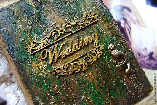 """Свадебные фотоальбомы ручной работы. Ярмарка Мастеров - ручная работа. Купить Альбом-блокнот """"Wedding"""". Handmade. Тёмно-зелёный, Скрапбукинг"""