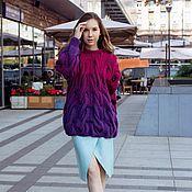 Одежда ручной работы. Ярмарка Мастеров - ручная работа Вязаный свитер с градиентом от KESLOVE фиолетово-рубиновый. Handmade.
