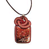 Украшения handmade. Livemaster - original item Soutache pendant, brooch pendant decoration Jasper Red Sea. Handmade.