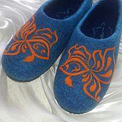 Обувь ручной работы. Ярмарка Мастеров - ручная работа Gold Fish. Валяные тапочки.. Handmade.