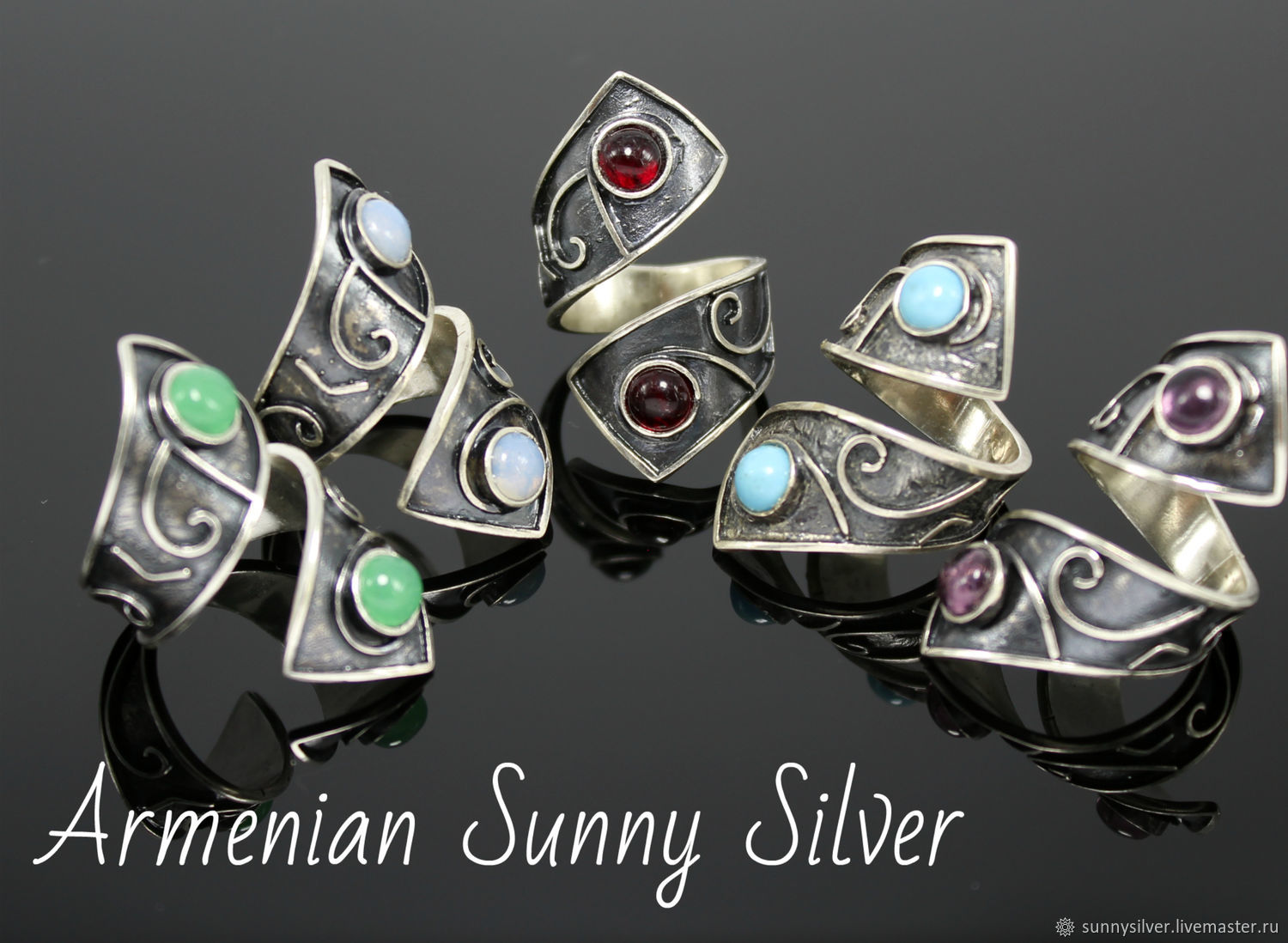Sapir spiral ring made of 925 sterling silver with stones (VIDEO), Rings, Yerevan,  Фото №1