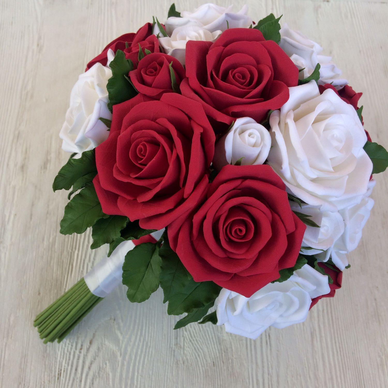 Букеты, свадебный букет из белых и красных