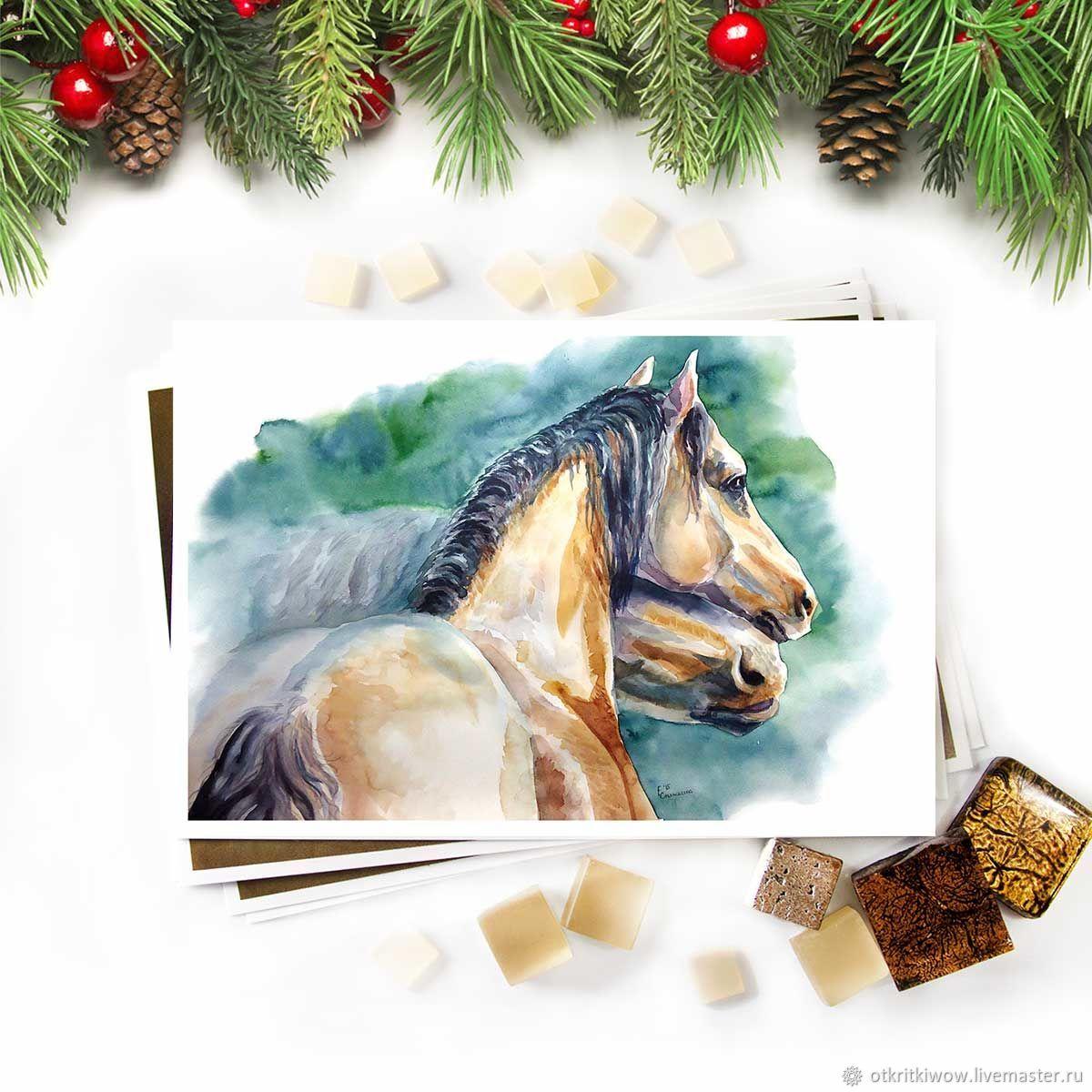 Открытка лошади обнимаются Саврасые, Открытки, Йошкар-Ола,  Фото №1