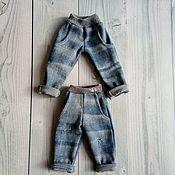 Одежда для кукол ручной работы. Ярмарка Мастеров - ручная работа Джинсы с отворотами для текстильных кукол. Handmade.