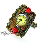 """Украшения ручной работы. Ярмарка Мастеров - ручная работа Часы наручные женские  """"Хозякйа времени"""", коричневые, красные. Handmade."""
