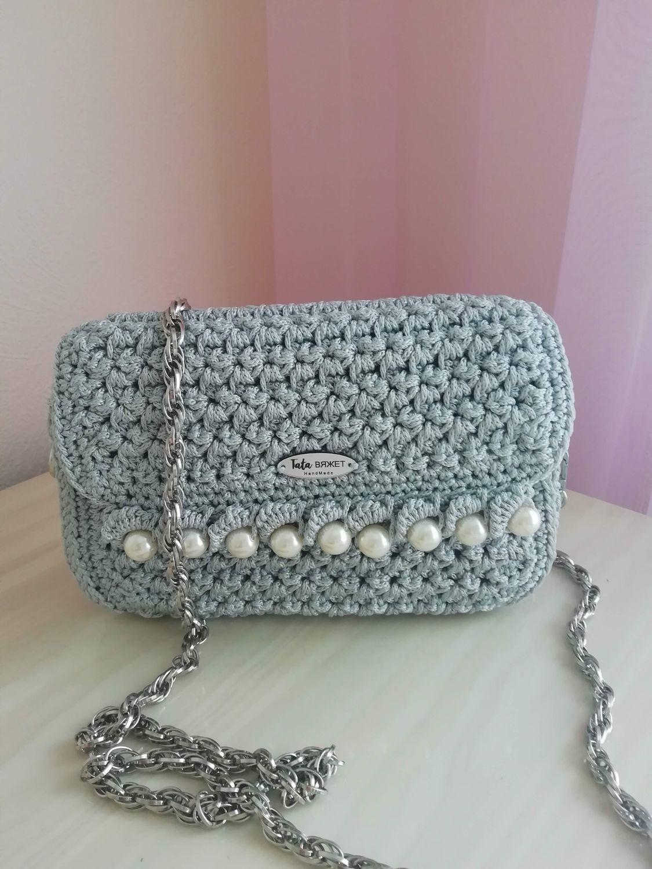 Women's bag crocheted Gray pearl, Classic Bag, Volgograd,  Фото №1