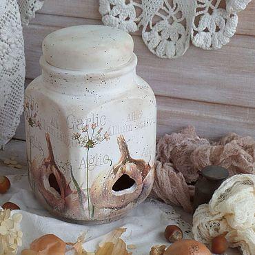 Посуда ручной работы. Ярмарка Мастеров - ручная работа Банка-горшок для хранения лука, чеснока, орехов Garlic. Handmade.