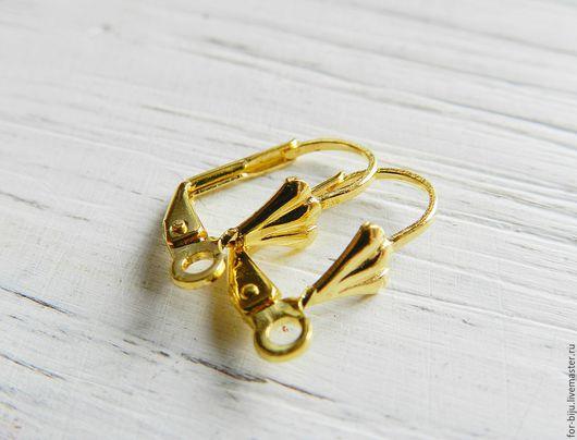 Швензы для серег с замком, цвет золото, размер 16x9x5 мм, материал латунь (арт. 2181)