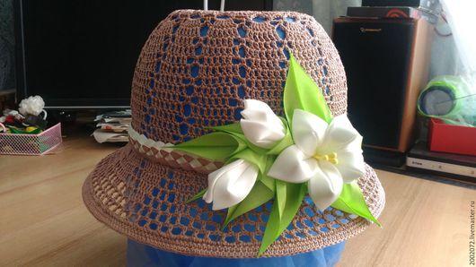 Шляпы ручной работы. Ярмарка Мастеров - ручная работа. Купить Вязаная шляпка. Handmade. Летняя, ажурная, ИЗ, хлопка