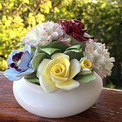 Винтаж ручной работы. Ярмарка Мастеров - ручная работа Винтажные фарфоровые цветы в фарфоровой вазе. Handmade.