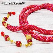 Украшения handmade. Livemaster - original item lariat of japanese beads with jadeite