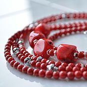 Украшения handmade. Livemaster - original item Tango multi-row necklace the beads of natural coral. Handmade.