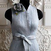 Одежда ручной работы. Ярмарка Мастеров - ручная работа Двусторонний жилет Серебро с синим. Handmade.