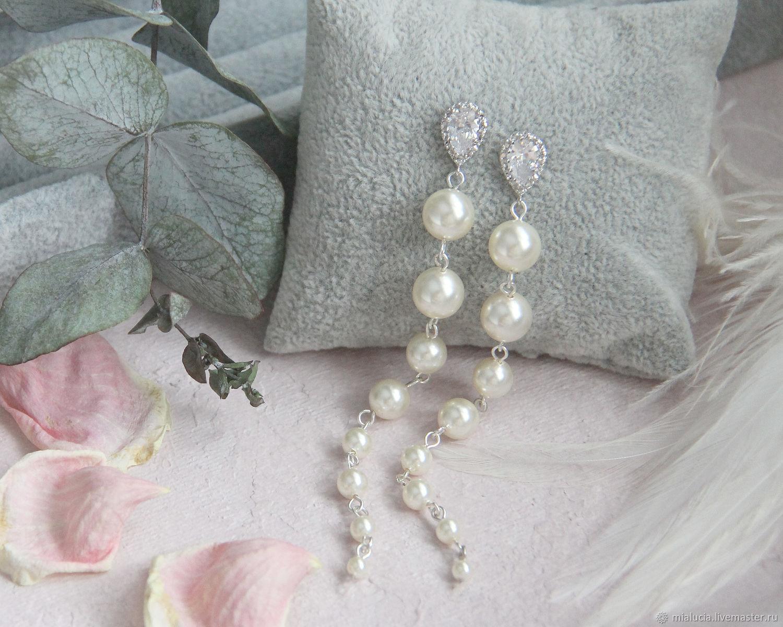 Длинные жемчужные серьги для невесты из жемчуга Swarovski e09, Серьги, Калуга,  Фото №1
