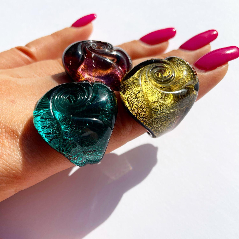 Кольцо из муранского стекла Роза золотое, Кольца, Москва,  Фото №1