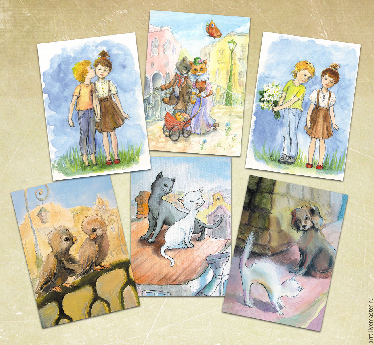 Cards for lovers ' Set of 6 PCs, Gifts for February 14, St. Petersburg,  Фото №1