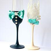 Свадебный салон ручной работы. Ярмарка Мастеров - ручная работа Свадебные бокалы Тиффани с кружевом. Handmade.