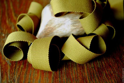 """Шитье ручной работы. Ярмарка Мастеров - ручная работа. Купить Репсовая лента 100% хлопок """"Оливка"""" (Италия). Handmade."""