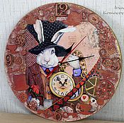 """Для дома и интерьера ручной работы. Ярмарка Мастеров - ручная работа """"Следуй за белым кроликом"""", часы. Handmade."""