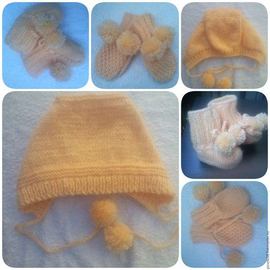 Для новорожденных, ручной работы. Ярмарка Мастеров - ручная работа. Купить Пинетки, царапки, шапки, шарфы свяжу на заказ. Handmade.