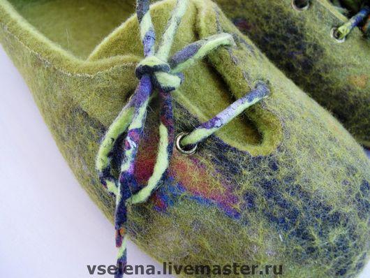 """Обувь ручной работы. Ярмарка Мастеров - ручная работа. Купить тапочки """"мягкой поступью зеленых мхов"""" проданы. Handmade."""