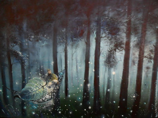 """Фантазийные сюжеты ручной работы. Ярмарка Мастеров - ручная работа. Купить Картина """"Сон маленького Светлячка...""""авторская работа. Handmade."""