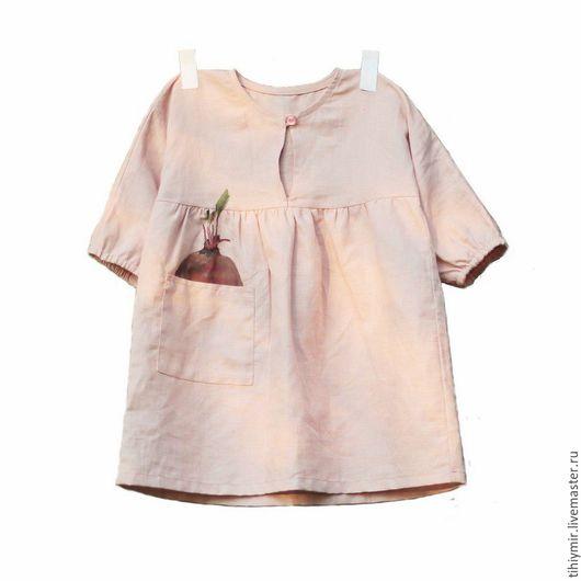 """Одежда для девочек, ручной работы. Ярмарка Мастеров - ручная работа. Купить Платье """"Свекла"""". Handmade. Бледно-розовый, деревня, платье"""
