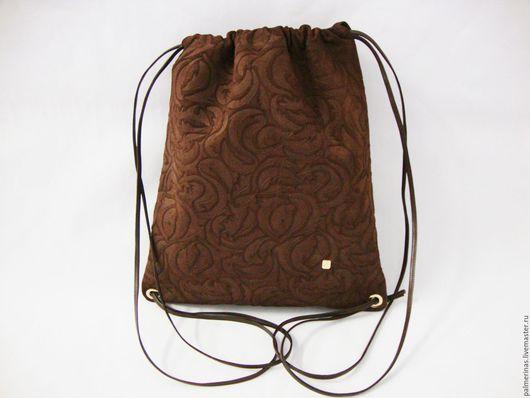 Рюкзаки ручной работы. Ярмарка Мастеров - ручная работа. Купить Замшевый рюкзак коричневый. Handmade. Коричневый, рельефная замша