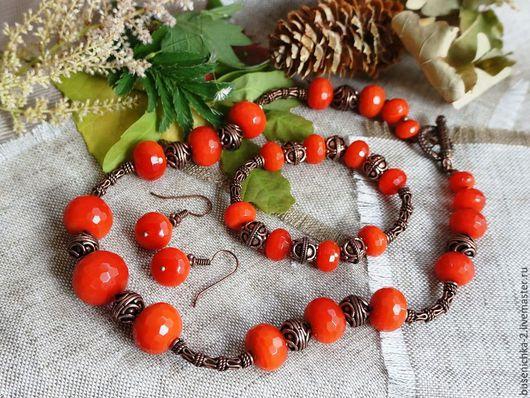 Колье, бусы ручной работы. Ярмарка Мастеров - ручная работа. Купить Комплект Бали, агат (колье + браслет + серьги). Handmade.