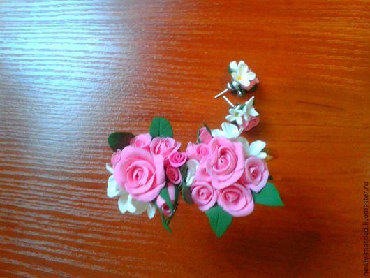 """Серьги ручной работы. Ярмарка Мастеров - ручная работа. Купить Украшение(бижутерия)Сережки """"Тепло Роз"""". Handmade. Разноцветный, бижутерия серьги"""