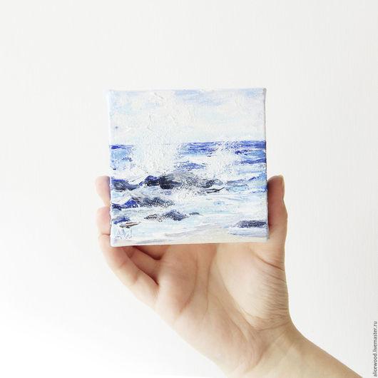 Alice Wood / Пейзаж ручной работы. Ярмарка Мастеров - ручная работа. Купить картину «Морской бриз». Картина с морем. Картина маслом на холсте. Моской пейзаж. Миниатюра. Мольберт. Handmade