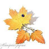 """Украшения ручной работы. Ярмарка Мастеров - ручная работа .Комплект горчичного цвета""""Осенние  листья"""". Handmade."""