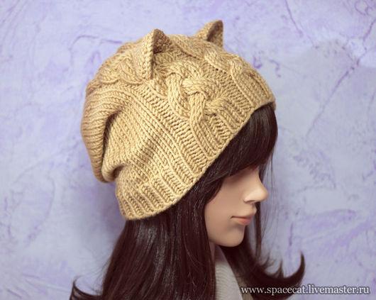 шапка вязаная, шапка с ушками, шапочка кошка, шапка с ушками вязанная, шапка вязаная женская кошка, шапочка зимняя вязаная с ушками