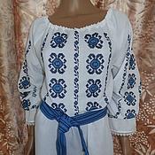 Одежда ручной работы. Ярмарка Мастеров - ручная работа блузка с цветочно-геометрическим орнаментом. Handmade.