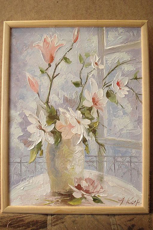 Картины цветов ручной работы. Ярмарка Мастеров - ручная работа. Купить Романтические сны. Handmade. Бледно-розовый, цветы