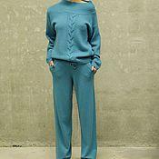 Одежда handmade. Livemaster - original item Suit knitted womens Turquoise. Handmade.