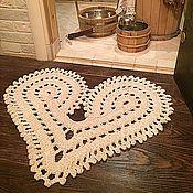 Для дома и интерьера ручной работы. Ярмарка Мастеров - ручная работа Коврик вязаный прикроватный Сердце. Handmade.