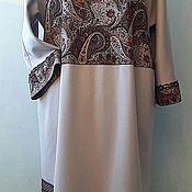 Одежда ручной работы. Ярмарка Мастеров - ручная работа Интересное платье-бохо из джерси с тесьмой, оверсайз.. Handmade.
