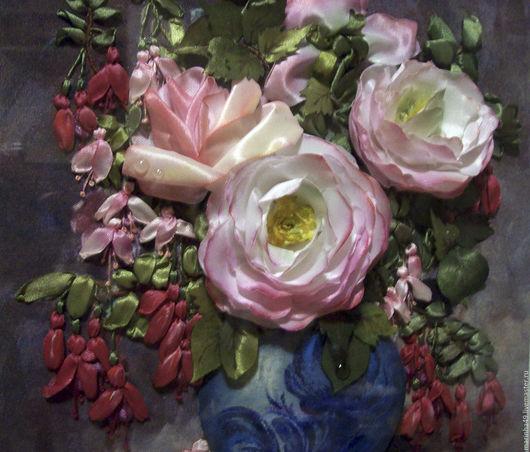 Картины цветов ручной работы. Ярмарка Мастеров - ручная работа. Купить Картина вышитая лентами Розы и фуксия. Handmade.