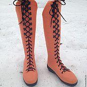"""Обувь ручной работы. Ярмарка Мастеров - ручная работа Валяные ботфорты """"Нежный персик"""". Handmade."""