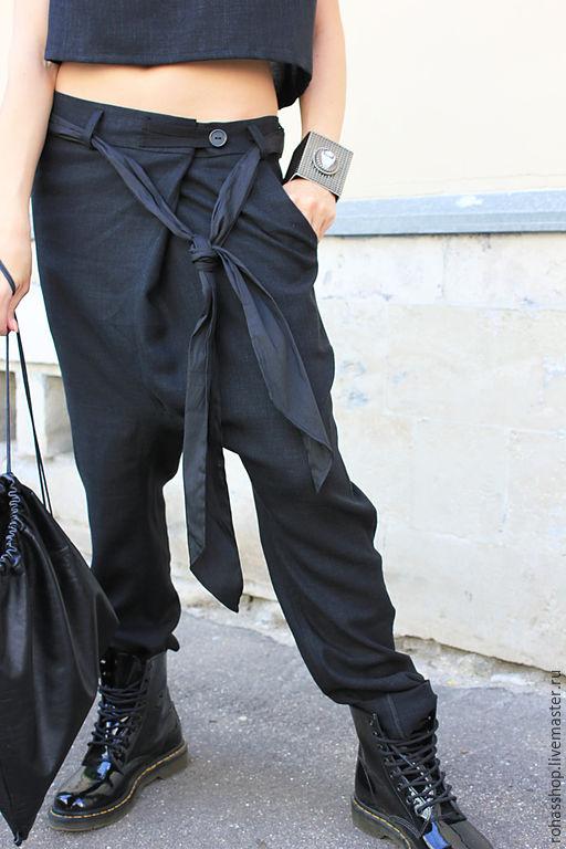 R00012 Брюки черные брюки модные брюки дизайнерские брюки женская одежда свободные брюки стильные брюки шерстяные брюки свободные брюки брюки на запах элегантные брюки штаны с мотней дизайнерские