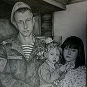 Картины и панно ручной работы. Ярмарка Мастеров - ручная работа Семейный портрет по фото (А3). Handmade.