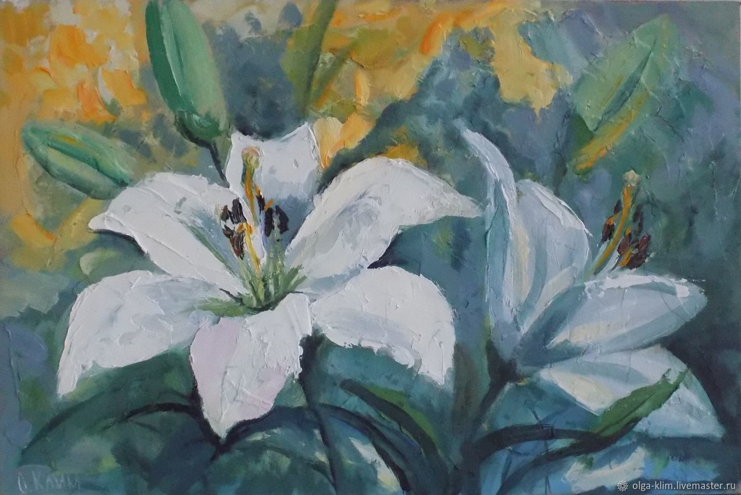 White lilies on a yellow-green background Painting Flowers, Pictures, Ekaterinburg,  Фото №1