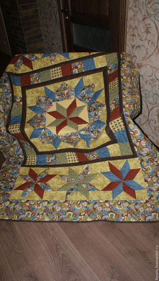 Текстиль, ковры ручной работы. Ярмарка Мастеров - ручная работа. Купить Лоскутное покрывало и 4 наволочки  Осенние цветы. Handmade.