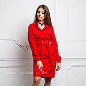 Одежда ручной работы. Ярмарка Мастеров - ручная работа Красное платье прямого кроя. Handmade.
